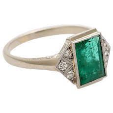 SALE Art Deco emerald ring white gold diamonds