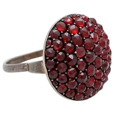 Edwardian Genuine bohemian garnet ring silver