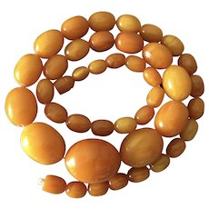 Natural baltic amber necklace round amber bead