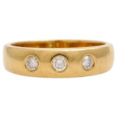 Solid 18k yellow gold three diamond ring