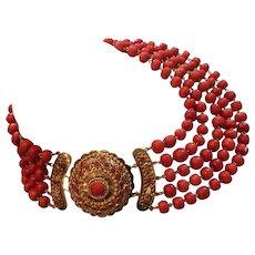 166 gram Extraordinary antique natural coral necklace