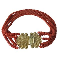 SALE 139 Gram antique  natural red coral bead large 14k yellow gold clasp