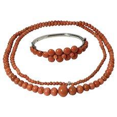 Antique natural salmon red coral necklace coral bracelet