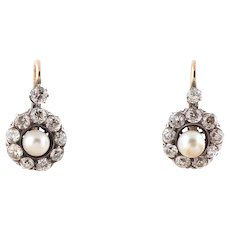 Diamond earring pearl gold