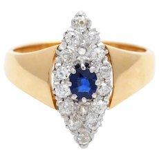 Diamond Saphire Ring 14k  gold