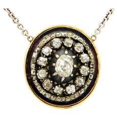 SALE 1.5ct Old cut diamonds pendant necklace gold
