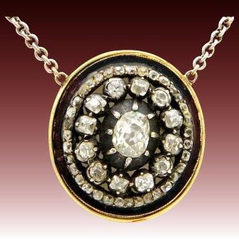 1.5ct Old cut diamonds pendant necklace gold