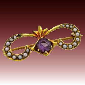 14k Gold brooch pin natural seed pearls amethyst