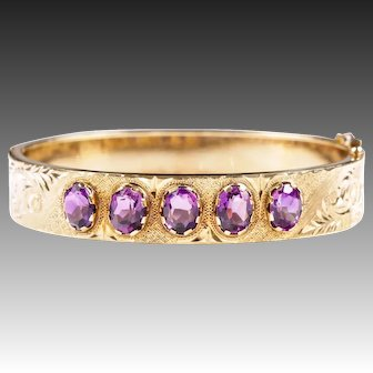 Amethyst bangle bracelet 14k gold