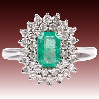 Diamond emerald ring white gold