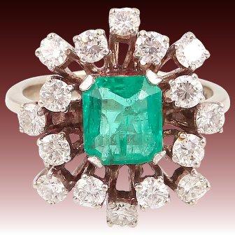 1CT diamond emerald ring gold