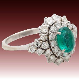 1.25ct Diamond emerald ring gold