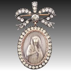 Edwardian Maria pendant brooch silver gold