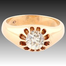Over 1CT old cut diamond gold ring