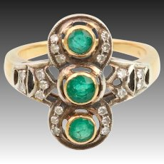 Emerald old cut diamond ring gold silver