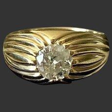 11.9 gram rare Antique ca. 1.25ct old european cut diamond ring Gold