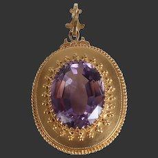 1900 Large antique amethyst pendant 14k 18k gold