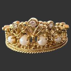 18CT 750 'Princess Diana' Tiara Ring by Stuart Devlin, Franklin Mint 1985