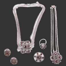 Silver antique garnet necklace bracelet pin ring earrings set collection