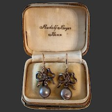Antique earrings 14k gold silver baroque pearls