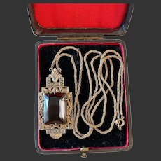 Art Deco Antique sterling silver necklace with large pendant Smoky quartz marcasite