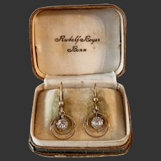 Antique earrings 9k rose gold with paste stone