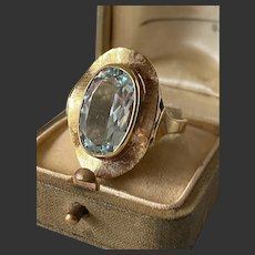 Vintag genuine natural aquamarine ring 14k yellow gold