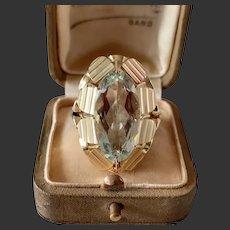 Large Vintage genuine natural aquamarine ring 14k yellow gold