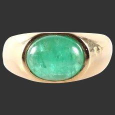 9.2 gram Vintage massive emerald Ring gold 18k