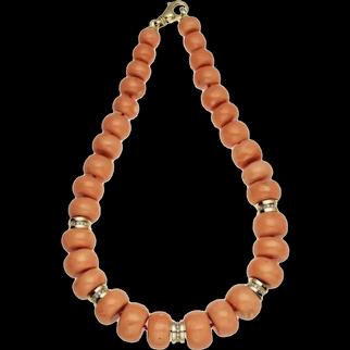 240 gram Rare large natural coral bead coral necklace 14k gold Diamonds