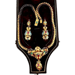 Rare antique 14k gold set necklace and earrings enamel