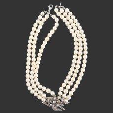 Antique pendant rose cut diamonds pearls necklace gold silver