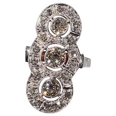 Antique Art Deco ring 0.75 Ct Old Cut Diamond White Gold