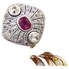 Antique Art Deco Natural Ruby ring 0.5 Ct Old Cut Diamond