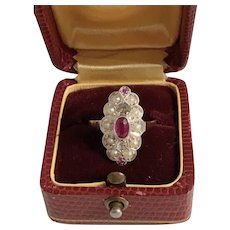 Art Déco antique ring with diamond rose cut seed pearls ruby