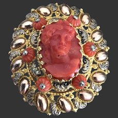 Sale Rare Large Brooch With Natural Coral Cameo And Coral Bead
