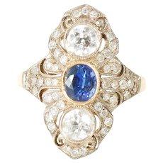 1.2 CT antique natural sapphire diamond ring platinum Gold