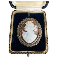Antique Cameo brooch pin Silver