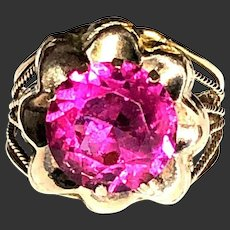 Antique ring Gold hot pink ruby tourmaline rubellite color stone