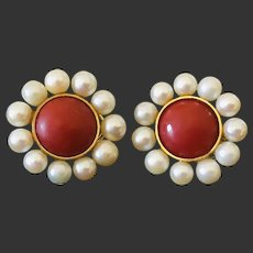 Blood red genuine pacific AKA coral Earrings 14k Yellow Gold with Pearl