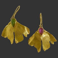 15.4 gram Rare pair of gold earrings gingko leaves with tourmaline