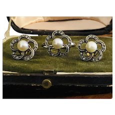 Antique rose cut diamond Pearl ring Earrings gold Silver