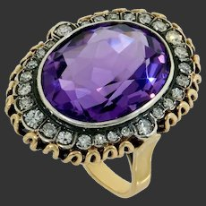 Rare amethyst ring with diamonds gold