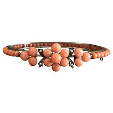 Antique natural coral bracelet bangle With Seed Pearls