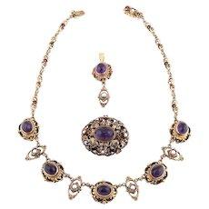 Antique set enamel pearl amethyst cabochons pendant brooch necklace silver