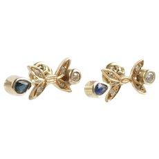 Vintage earrings diamond sapphire Gold