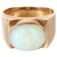 14K Gold ring natural opal cabochon