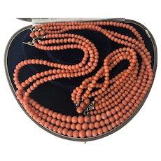 86 gr. Victorian Natural Coral Necklace Bracelet Set