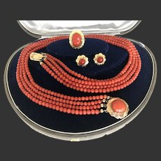 Antique Vintage Natural coral Necklace Ring Earring Set All In gold