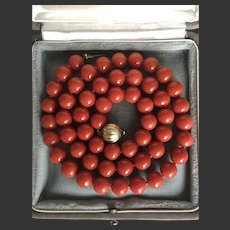 8.5-9mm Natural red coral necklace gold clasp